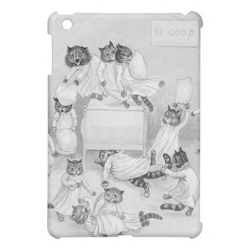Cat Pillow Fight - Funny Cats Case by Louis Wain iPad Mini Covers