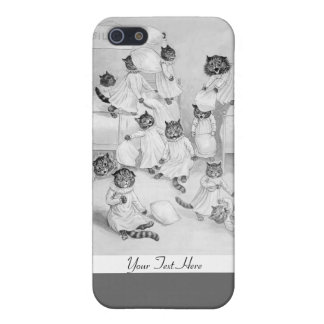 Cat Pillow Fight - Funny Cats Case by Louis Wain iPhone 5 Cases