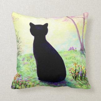 Cat Pillow Flowers Floral Black Cat Creationarts