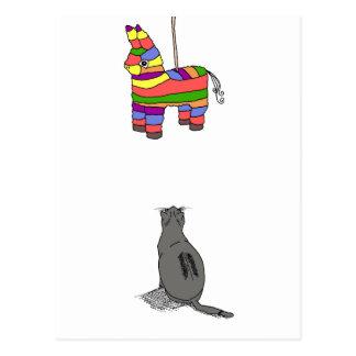 Cat & Pinata - Blank Postcard