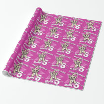 Cat pink add your age name 5th birthday wrap wrapping paper
