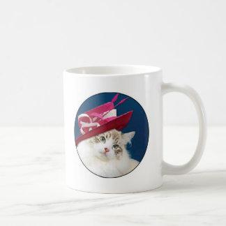 cat pink hat coffee mugs