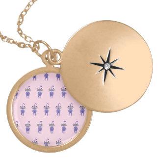 cat pink round locket necklace