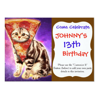 Cat pizza - cat space - cat memes card