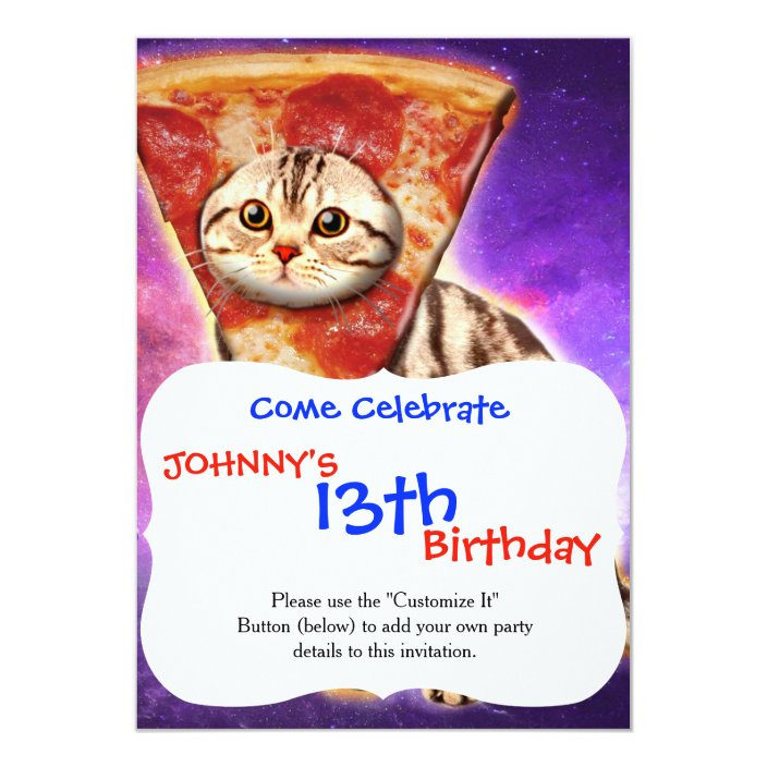 Cat Pizza Cat Space Cat Memes Invitation Zazzle Com