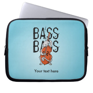 Cat Playing a Double Bass Laptop Sleeve