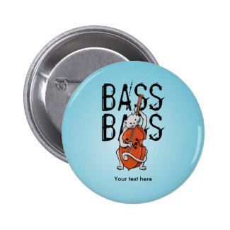 Cat Playing a Double Bass or Cello 2 Inch Round Button