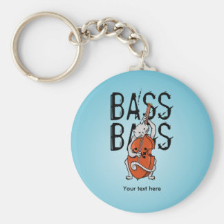 Cat Playing a Double Bass or Cello Keychain