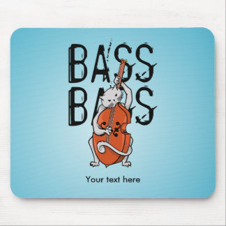 Cat Playing a Double Bass or Cello Mouse Pad
