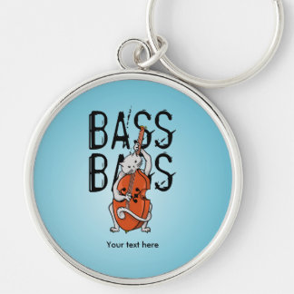 Cat Playing a Double Bass or Upright Bass Keychain