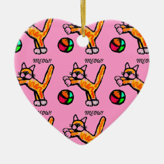 CAT PLAYING BALL MEOW MEOW PINK HEART Double-Sided HEART CERAMIC CHRISTMAS ORNAMENT