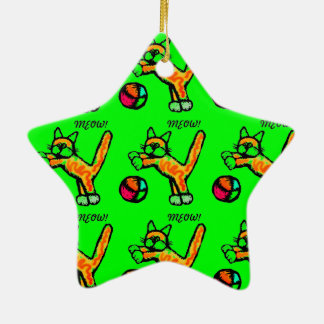CAT PLAYING BALL MEOW MEOW SUPER STAR CERAMIC ORNAMENT