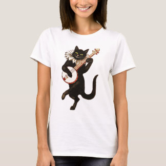 Cat Playing Banjo Illustration T-Shirt