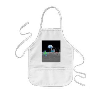 Cat Playing Chase With An Alien Friend On The Moon Apron