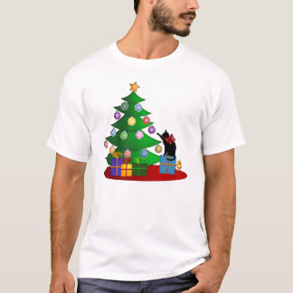 Cat Playing Christmas Ornaments Hanging on Tree T-Shirt