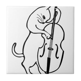 Cat playing double bass ceramic tile