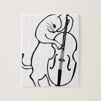 Cat playing double bass jigsaw puzzle