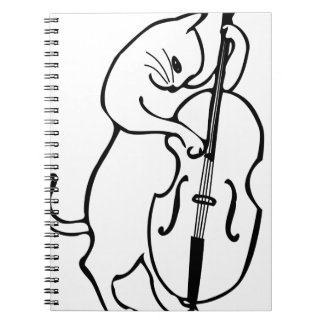 Cat playing double bass notebook