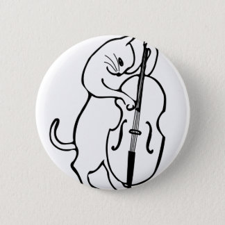 Cat playing double bass pinback button