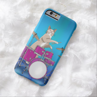 Cat Playing Drums - Blue iPhone 6 Case