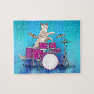 Cat Playing Drums - Blue Puzzle