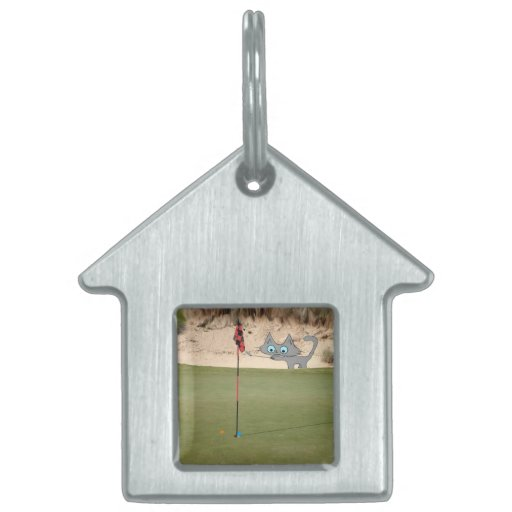 Cat Playing Golf Pet Tags