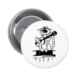 Cat Playing Guitar 2 Inch Round Button