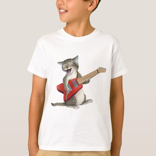 Cat Playing Guitar T_Shirt
