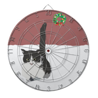 Cat Playing In Snow Dart Board
