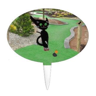 Cat Playing Mini Golf Cake Picks