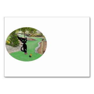 Cat Playing Mini Golf Table Cards