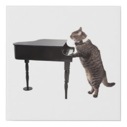 Cat Playing Piano Faux Canvas Print