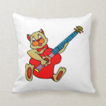 cat playing red bass.png throw pillows