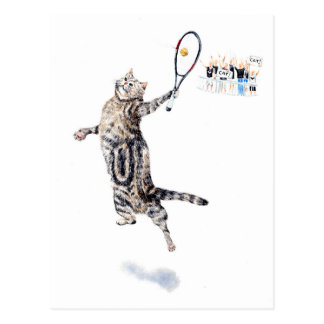 Cat Playing Tennis Postcard