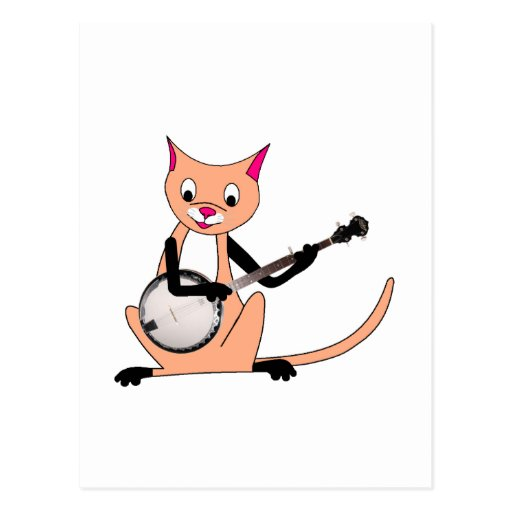 Cat Playing the Banjo Postcard