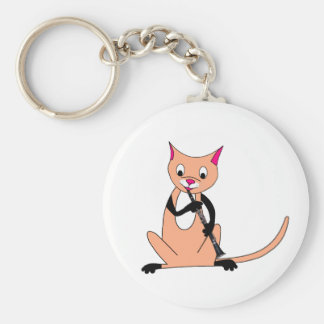 Cat Playing the Clarinet Key Chains
