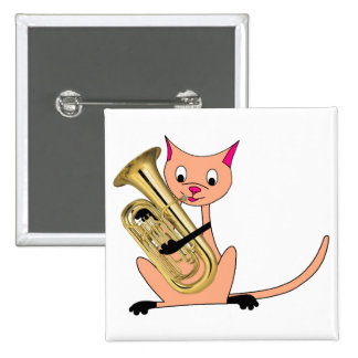 Cat Playing the Euphonium 2 Inch Square Button