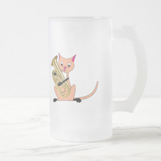 Cat Playing the Euphonium Frosted Glass Beer Mug