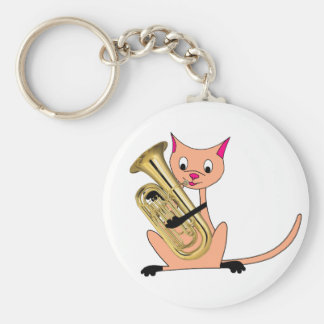 Cat Playing the Euphonium Keychains