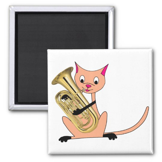 Cat Playing the Euphonium Magnet
