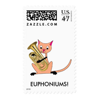 Cat Playing the Euphonium Postage
