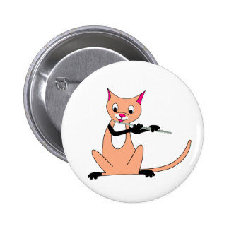 Cat Playing the Flute Pin