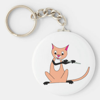 Cat Playing the Flute Key Chains