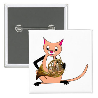 Cat Playing the French Horn Button