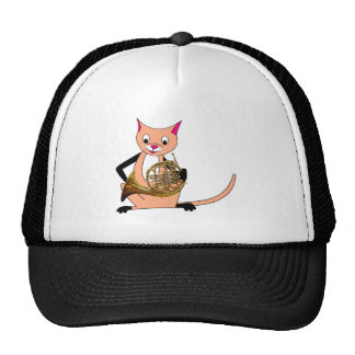 Cat Playing the French Horn Trucker Hat