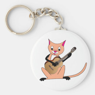 Cat Playing the Guitar Keychain