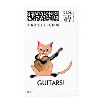 Cat Playing the Guitar Postage