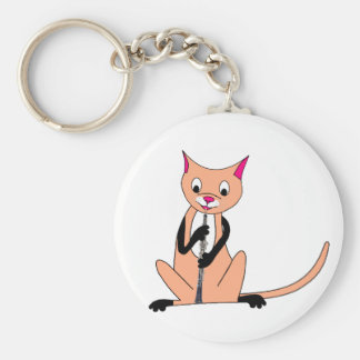 Cat Playing the Oboe Key Chains