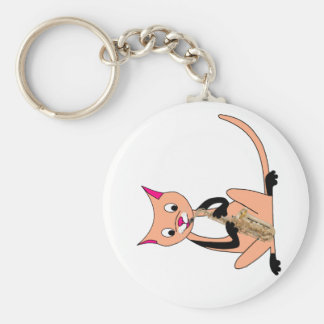 Cat Playing the Saxophone Key Chains
