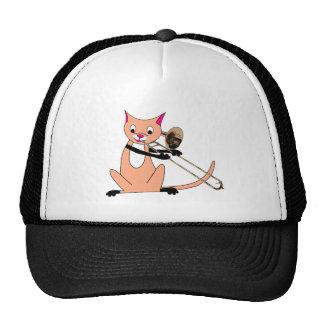 Cat Playing the Trombone Trucker Hat